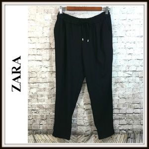 Zara Womens Sz M Black Cropped Ruched Waist Pants